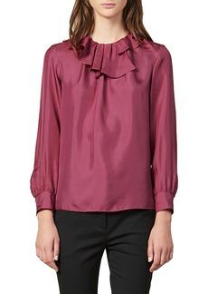sandro Enisa Ruffle Collar Silk Blouse