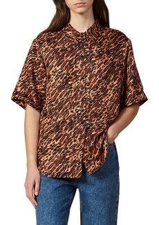 sandro Evie Leopard Print Silk Shirt