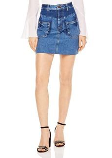 Sandro Fadela Frayed Denim Mini Skirt