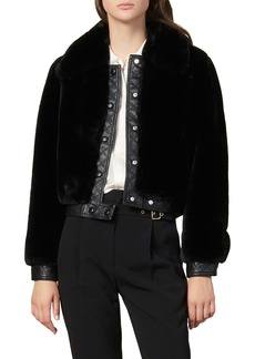 sandro Fauny Faux Fur Leather Detail Bomber Jacket