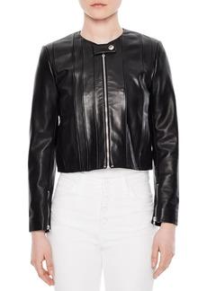 Sandro Fes Cropped Leather Jacket
