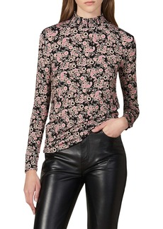 sandro Fidela Paisley Pleated Mock Neck Long Sleeve Top