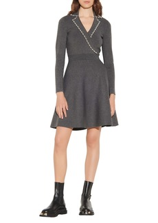 sandro Fit & Flare Long Sleeve Sweater Dress