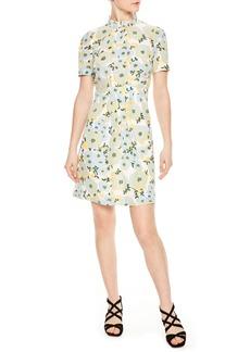 sandro Floral A-Line Silk Dress