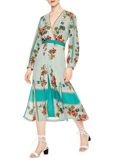 sandro Floral Faux Wrap Dress