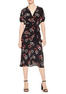 sandro Floral Hearts Silk Dress