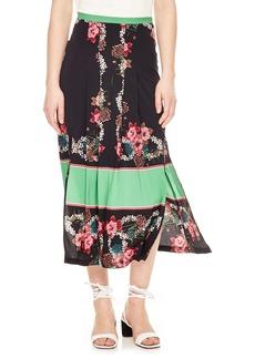 sandro Floral Pleat Midi Skirt