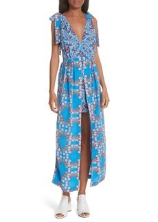 sandro Floral Plunging Slit Dress