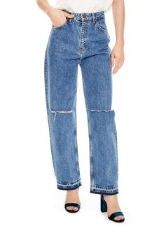 sandro Fluffy Straight Leg Jeans (Blue Vintage)