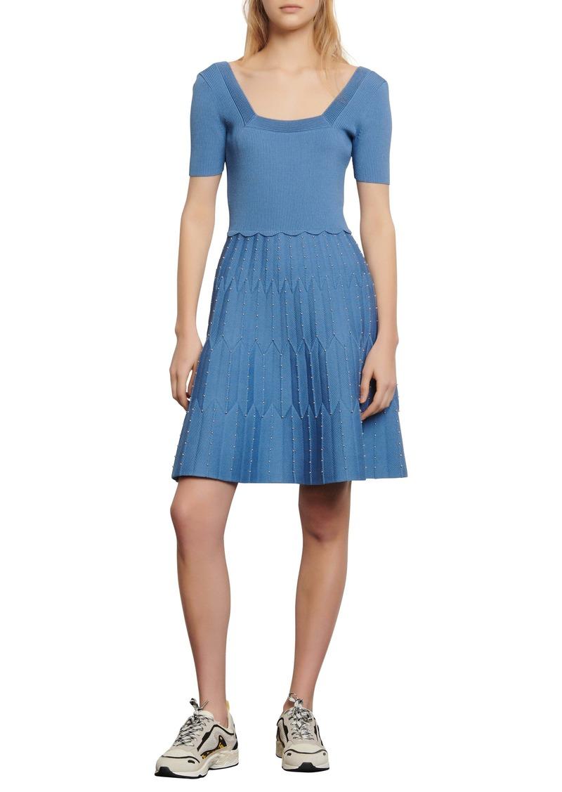 sandro Flyn Bead Detail Fit & Flare Knit Dress