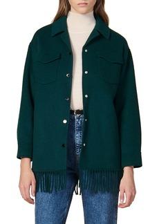 sandro Fringe Detail Wool Blend Jacket