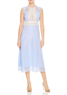 Sandro Hot Sheer-Inset Floral Lace Midi Dress