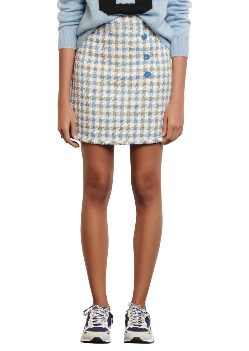 sandro Houndstooth Tweed Skirt