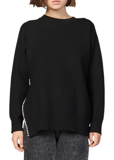 sandro Imitation Pearl Trim Sweater