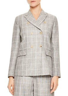 Sandro Iveline Double-Breasted Plaid Blazer