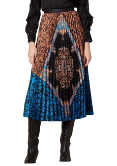 sandro Ivona Mix Scarf Print Pleated Skirt