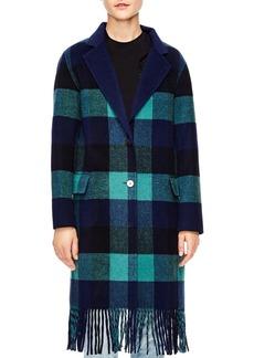 Sandro Joie Fringed Buffalo Plaid Coat