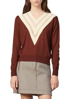 sandro Jone Mesh Inset Wool Blend Sweater