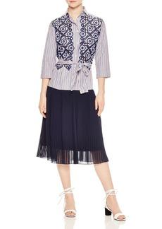 Sandro Jos�fine Pleated Eyelet-Lace Midi Dress