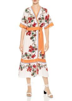 Sandro Joya Printed Silk Midi Wrap Dress
