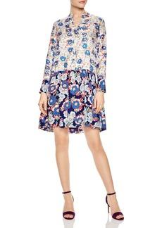 Sandro Kimberly Mixed Floral Print Silk Dress