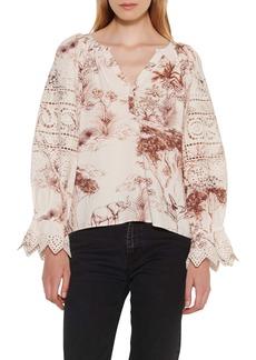 sandro Lace Detail Ruffle Sleeve Blouse