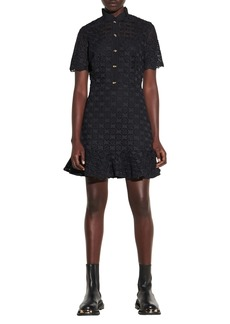 sandro Lace Fit & Flare Short Sleeve Dress