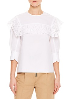 sandro Lace Popover Cotton Top