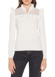 sandro Lace Ruffle Shirt