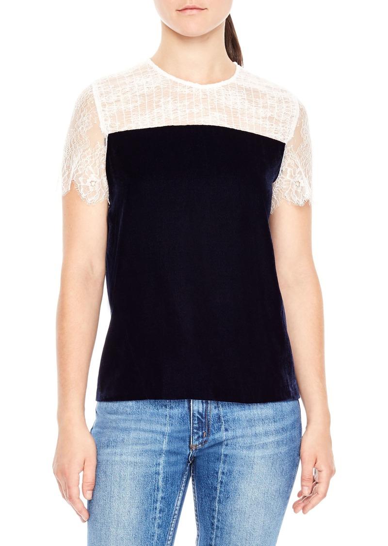 Sandro Sandro Lace Shoulder Velvet Top Casual Shirts