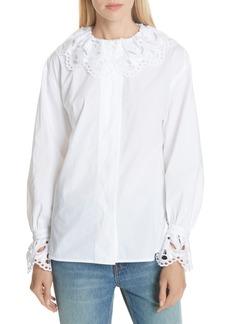 sandro Lace Trim Cotton Blouse