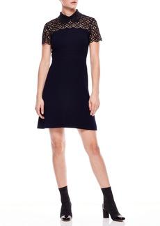 sandro Lace Yoke Bead Detail Dress