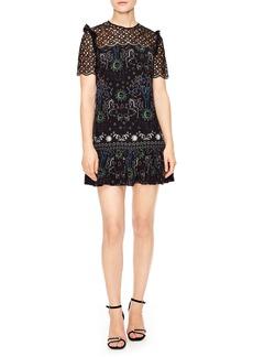 sandro Lace Yoke Print Dress
