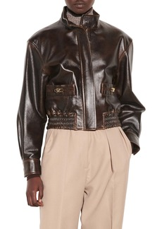sandro Leather Bomber Jacket