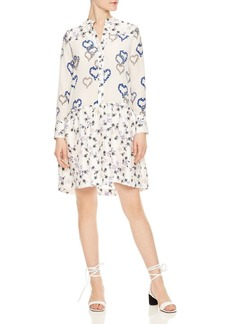 Sandro Lemon Floral Print Silk Shift Dress