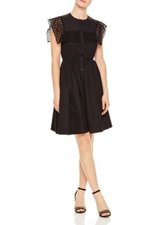 Sandro Lidwine Lace-Trimmed A-Line Dress