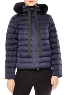 Sandro Lilian Detachable Real Fox Fur-Trimmed Cropped Puffer Coat