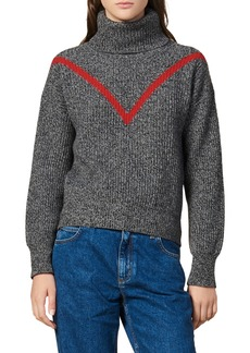 sandro Line Turtleneck Marled Wool Blend Sweater