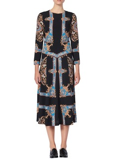 sandro Liventa Ornate Print Midi Dress
