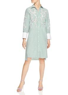 Sandro Lobna Striped Botanical-Lace Inset Shirt Dress