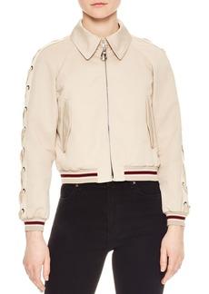 Sandro Lot Lace-Up Sleeve Bomber Jacket