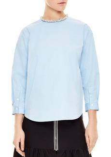 Sandro Lua Bead-Detail Pleated Shirt