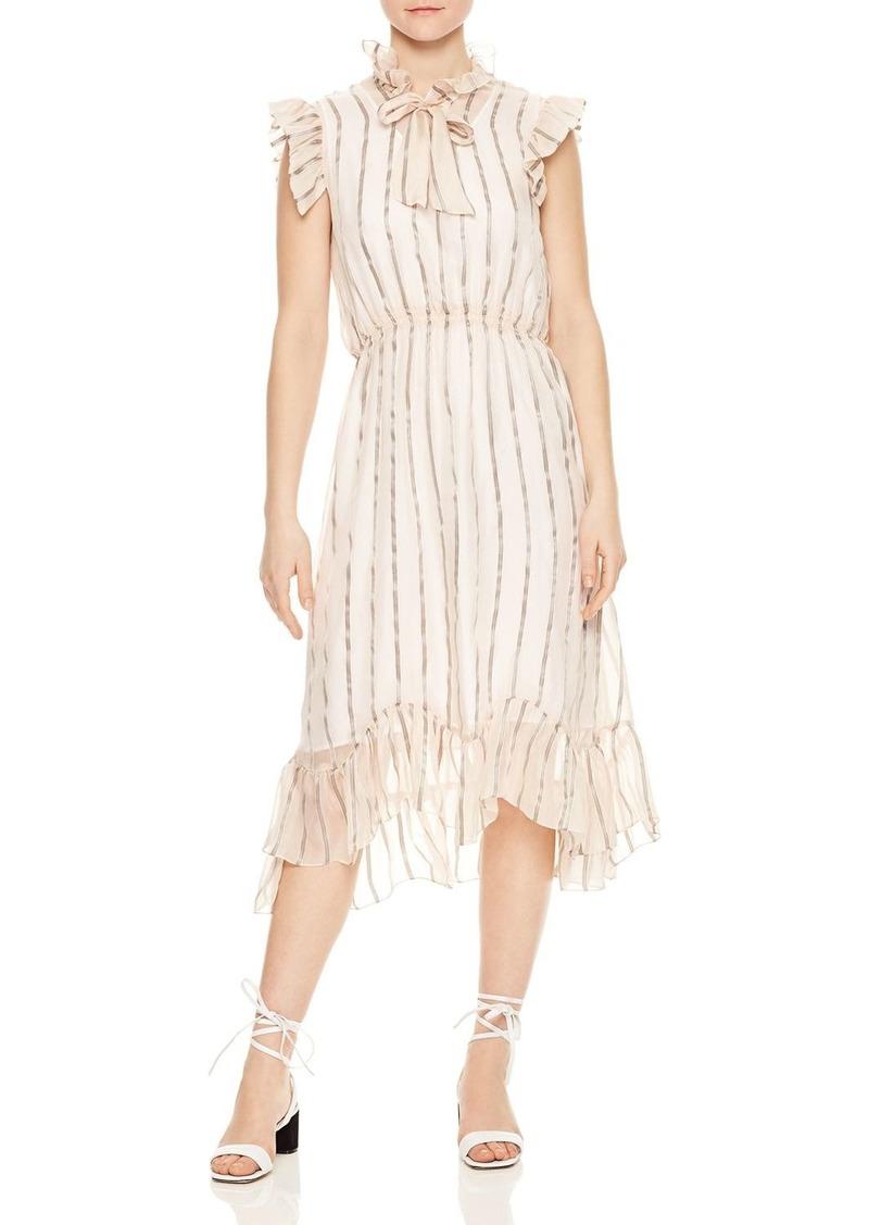 f6844b55d47c Sandro Sandro Maki Ruffled Metallic-Stripe Midi Dress