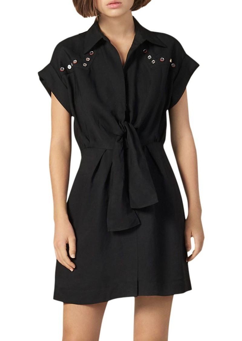 Sandro Mavel Tie-Front Western Shirt Dress