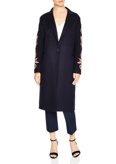 Sandro Melodie Floral-Embroidered Wool-Blend Coat