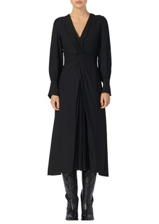 sandro Minella Pleat Detail Long Sleeve Dress