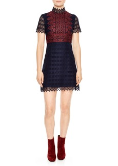 sandro Mixed Lace A-Line Dress