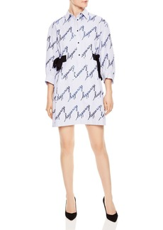 Sandro Modest Sequined Striped Shirt Dress