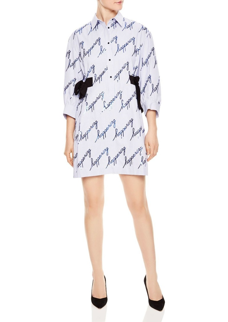 c9330585b4 Modest Sequined Striped Shirt Dress