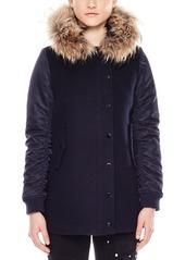 Sandro Moody Fur-Trimmed Coat